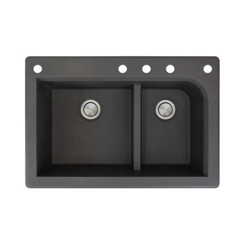 Transolid Radius 33in x 22in silQ Granite Drop-in Double Bowl Kitchen Sink with 5 CADEF Faucet Holes, In Black