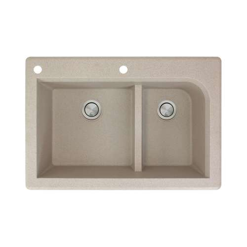 Transolid Radius 33in x 22in silQ Granite Drop-in Double Bowl Kitchen Sink with 2 CA Faucet Holes, In Café Latte