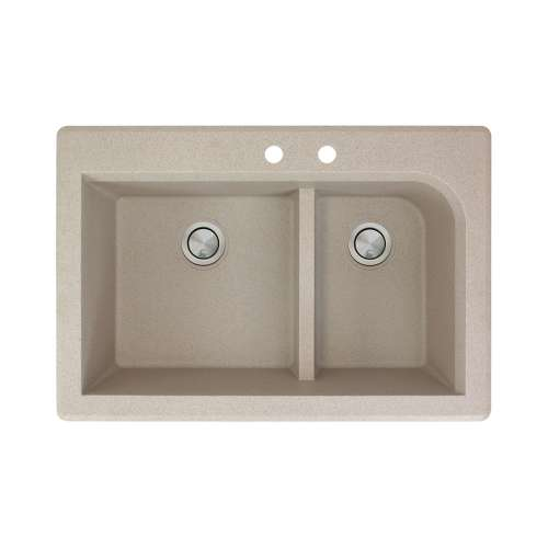 Transolid Radius 33in x 22in silQ Granite Drop-in Double Bowl Kitchen Sink with 2 CD Faucet Holes, In Café Latte