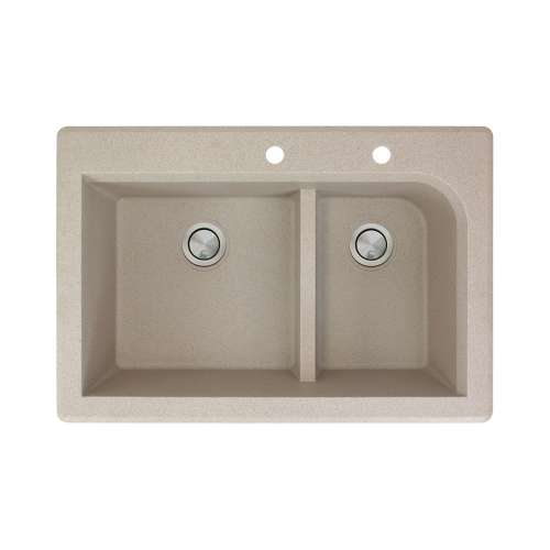 Transolid Radius 33in x 22in silQ Granite Drop-in Double Bowl Kitchen Sink with 2 CE Faucet Holes, In Café Latte
