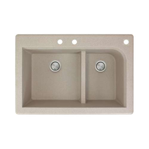 Transolid Radius 33in x 22in silQ Granite Drop-in Double Bowl Kitchen Sink with 3 CBF Faucet Holes, In Café Latte