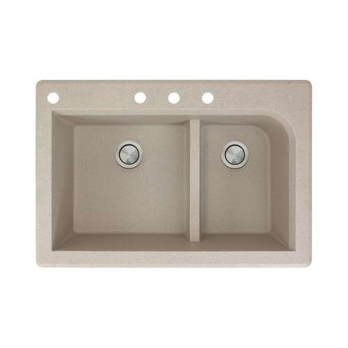 Transolid Radius 33in x 22in silQ Granite Drop-in Double Bowl Kitchen Sink with 4 CABD Faucet Holes, In Café Latte