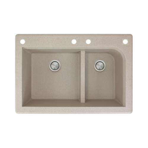 Transolid Radius 33in x 22in silQ Granite Drop-in Double Bowl Kitchen Sink with 4 CADF Faucet Holes, In Café Latte