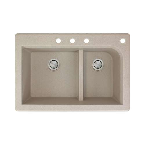 Transolid Radius 33in x 22in silQ Granite Drop-in Double Bowl Kitchen Sink with 4 CBDF Faucet Holes, In Café Latte