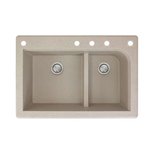 Transolid Radius 33in x 22in silQ Granite Drop-in Double Bowl Kitchen Sink with 5 CADEF Faucet Holes, In Café Latte
