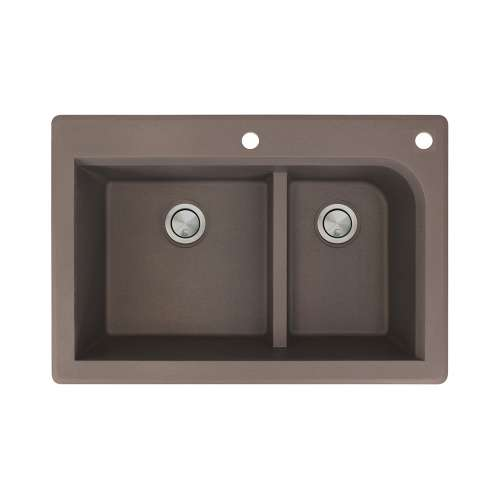 Transolid Radius 33in x 22in silQ Granite Drop-in Double Bowl Kitchen Sink with 2 CF Faucet Holes, In Espresso