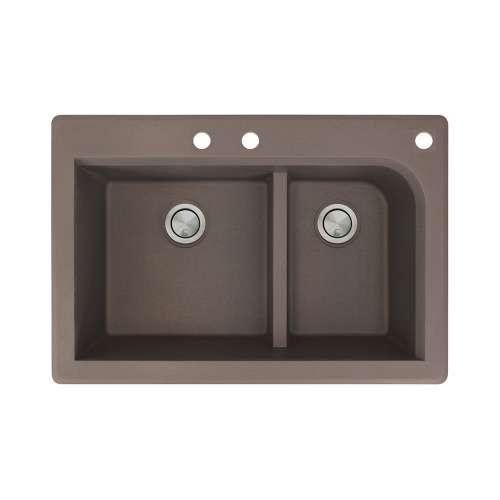 Transolid Radius 33in x 22in silQ Granite Drop-in Double Bowl Kitchen Sink with 3 CBF Faucet Holes, In Espresso