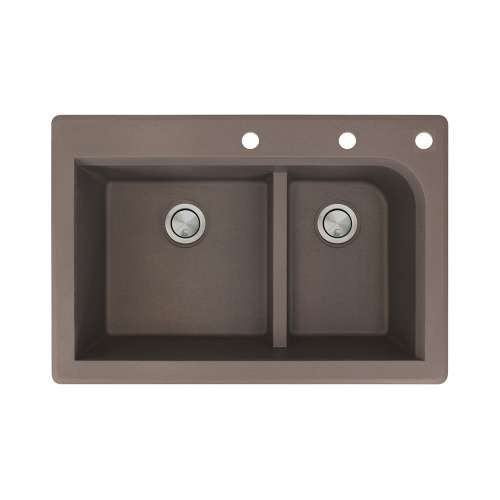 Transolid Radius 33in x 22in silQ Granite Drop-in Double Bowl Kitchen Sink with 3 CEF Faucet Holes, In Espresso