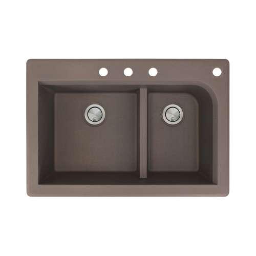 Transolid Radius 33in x 22in silQ Granite Drop-in Double Bowl Kitchen Sink with 4 CBDF Faucet Holes, In Espresso