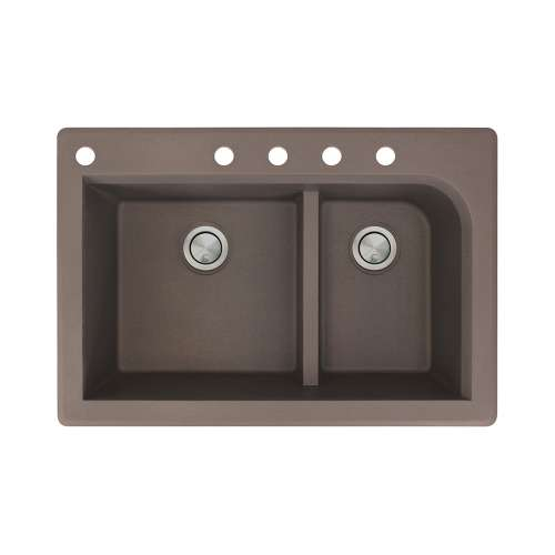 Transolid Radius 33in x 22in silQ Granite Drop-in Double Bowl Kitchen Sink with 5 CABDE Faucet Holes, In Espresso