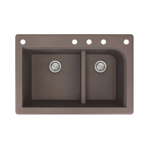 Transolid Radius 33in x 22in silQ Granite Drop-in Double Bowl Kitchen Sink with 5 CADEF Faucet Holes, In Espresso
