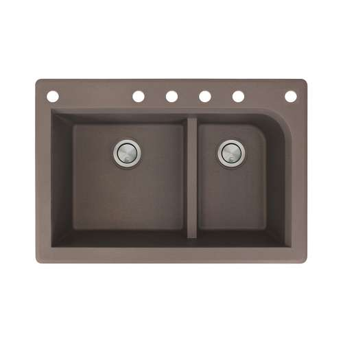 Transolid Radius 33in x 22in silQ Granite Drop-in Double Bowl Kitchen Sink with 6 CABDEF Faucet Holes, In Espresso