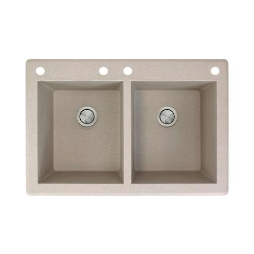 Transolid Radius 33in x 22in silQ Granite Drop-in Double Bowl Kitchen Sink with 4 CABE Faucet Holes, In Café Latte