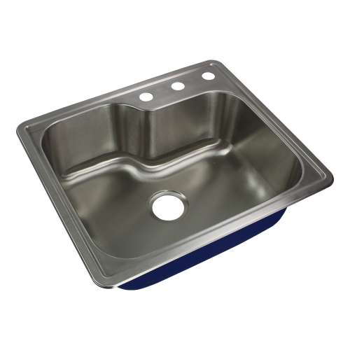 Transolid Meridian 25in x 22in 16 Gauge Offset Drop-in Single Bowl Kitchen Sink with 3 Faucet Holes