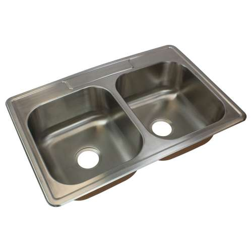 Transolid Classic Stainless Steel 33-in Drop-in Kitchen Sink - Multiple Hole Configurations Available