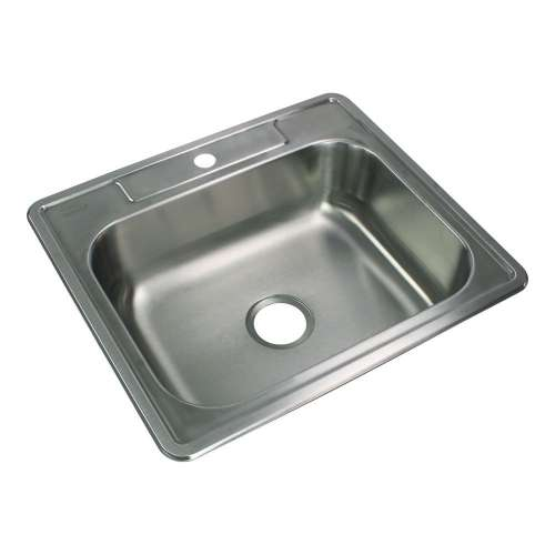 Transolid Select 25in x 22in 20 Gauge Drop-in Single Bowl Kitchen Sink with 1 Faucet Hole