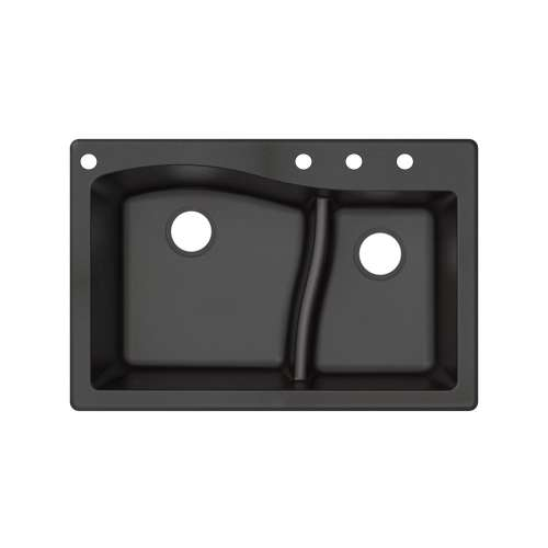 Transolid Aversa SilQ Granite 33-in. Drop-in Kitchen Sink with 4 BACD Faucet Holes in Black
