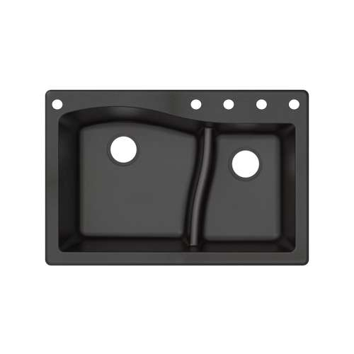 Transolid Aversa SilQ Granite 33-in. Drop-in Kitchen Sink with 5 BACDE Faucet Holes in Black