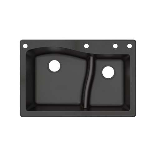 Transolid Aversa SilQ Granite 33-in. Drop-in Kitchen Sink with 4 BADE Faucet Holes in Black