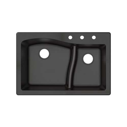 Transolid Aversa SilQ Granite 33-in. Drop-in Kitchen Sink with 3 BCD Faucet Holes in Black