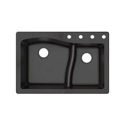 Transolid Aversa SilQ Granite 33-in. Drop-in Kitchen Sink with 4 BCDE Faucet Holes in Black