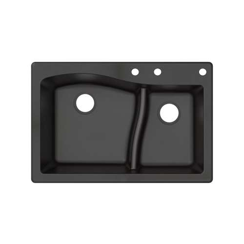 Transolid Aversa SilQ Granite 33-in. Drop-in Kitchen Sink with 3 BCE Faucet Holes in Black