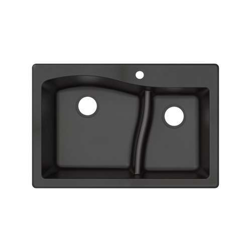 Transolid Aversa SilQ Granite 33-in. Drop-in Kitchen Sink with 1 B Faucet Hole in Black