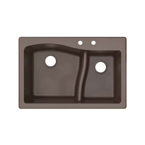Transolid Aversa SilQ Granite 33-in. Drop-in Kitchen Sink with 2 BC Faucet Holes in Espresso