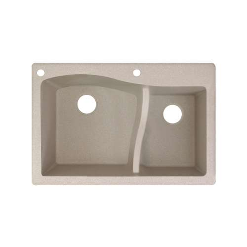 Transolid Aversa SilQ Granite 33-in. Drop-in Kitchen Sink with 2 BA Faucet Holes in Cafe Latte
