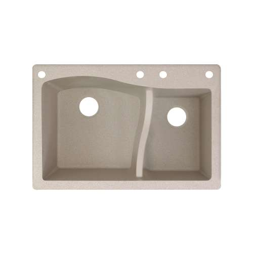 Transolid Aversa SilQ Granite 33-in. Drop-in Kitchen Sink with 4 BACE Faucet Holes in Cafe Latte