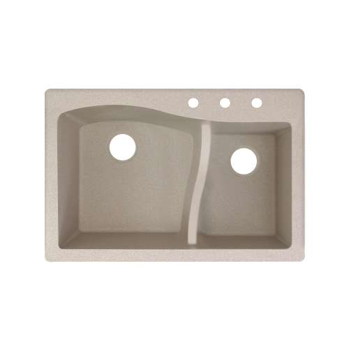 Transolid Aversa SilQ Granite 33-in. Drop-in Kitchen Sink with 3 BCD Faucet Holes in Cafe Latte