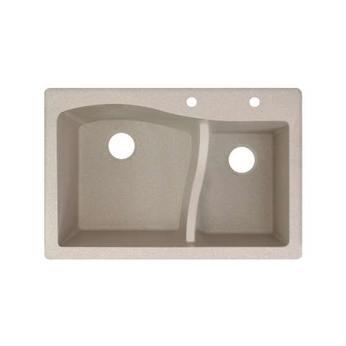 Transolid Aversa SilQ Granite 33-in. Drop-in Kitchen Sink with 2 BD Faucet Holes in Cafe Latte