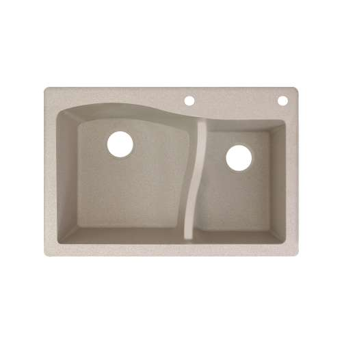 Transolid Aversa SilQ Granite 33-in. Drop-in Kitchen Sink with 2 BE Faucet Holes in Cafe Latte