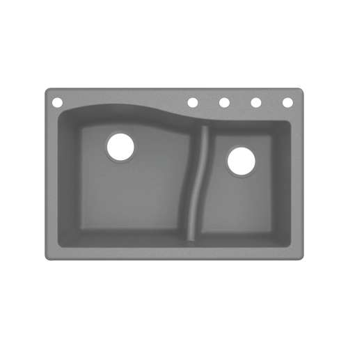 Transolid Aversa SilQ Granite 33-in. Drop-in Kitchen Sink with 5 BACDE Faucet Holes in Grey