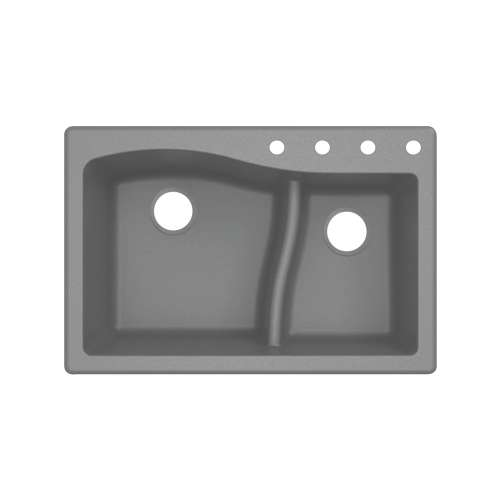Transolid Aversa SilQ Granite 33-in. Drop-in Kitchen Sink with 4 BCDE Faucet Holes in Grey