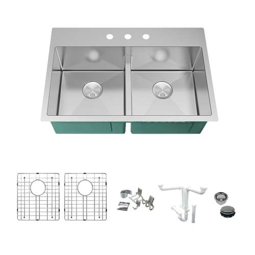 Transolid KKM-DTDE332210-3 Diamond Sink Kit with Equal Double Bowls, 3 Pre-Drilled Holes, Magnetic Accessories Kit, and Drain Kit