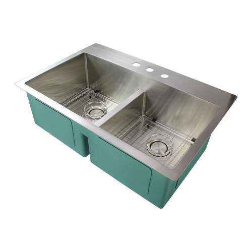 Transolid Diamond 33in x 22in 16 Gauge Dual Mount Double Bowl Kitchen Sink with Low Divide with 3 Holes