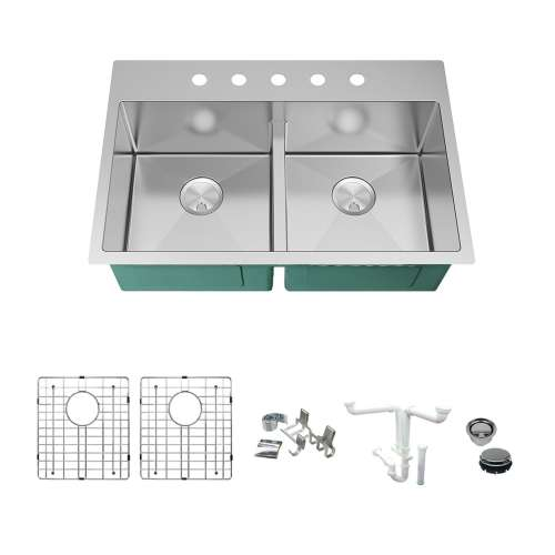 Transolid KKM-DTDE332210-5 Diamond Sink Kit with Equal Double Bowls, 5 Pre-Drilled Holes, Magnetic Accessories Kit, and Drain Kit