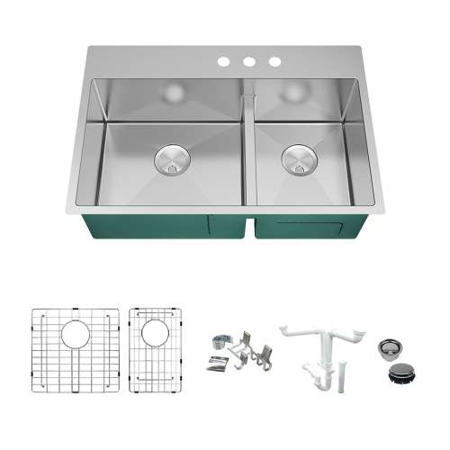 Transolid KKM-DTDO332210-3 Diamond Sink Kit with 60/40 Double Bowls, 3 Pre-Drilled Holes, Magnetic Accessories Kit, and Drain Kit