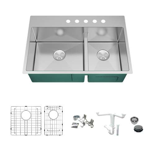 Transolid KKM-DTDO332210-5 Diamond Sink Kit with 60/40 Double Bowls, 5 Pre-Drilled Holes, Magnetic Accessories Kit, and Drain Kit