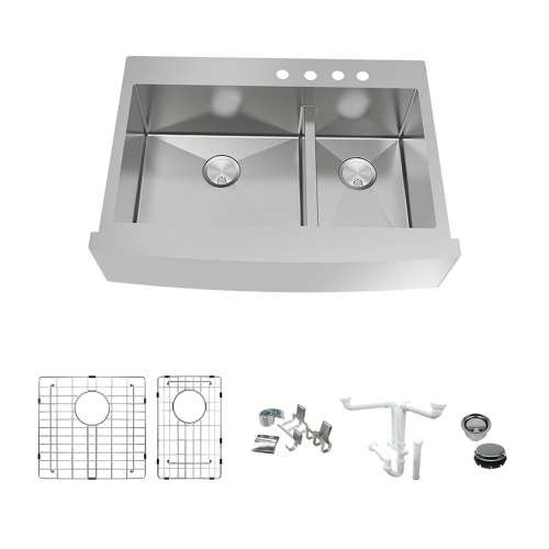 Transolid KKM-DTDOF362510-4 Diamond Sink Kit with Farmhouse Style 60/40 Double Bowls, 4 Pre-Drilled Holes, Magnetic Accessories Kit, and Drain Kit