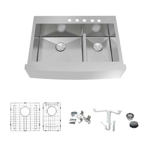 Transolid KKM-DTDOF362510-5 Diamond Sink Kit with Farmhouse Style 60/40 Double Bowls, 5 Pre-Drilled Holes, Magnetic Accessories Kit, and Drain Kit