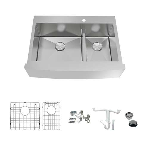 Transolid KKM-DTDOF362510 Diamond Sink Kit with Farmhouse Style 60/40 Double Bowls, Magnetic Accessory Kit and Drain Kit