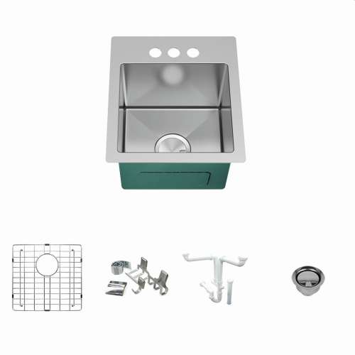 Transolid KKM-DTSB151710-3 Diamond Sink Kit with Single Bowl, 3 Pre-Drilled Holes, Magnetic Accessories Kit, and Drain Kit