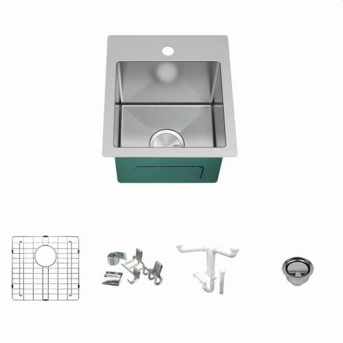Transolid KKM-DTSB151710 Diamond Sink Kit with Single Bowl, Magnetic Accessories Kit, and Drain Kit