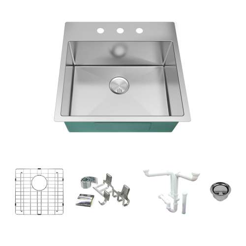 Transolid KKM-DTSB232210-3 Diamond Sink Kit with Single Bowl, 3 Pre-Drilled Holes, Magnetic Accessories Kit, and Drain Kit
