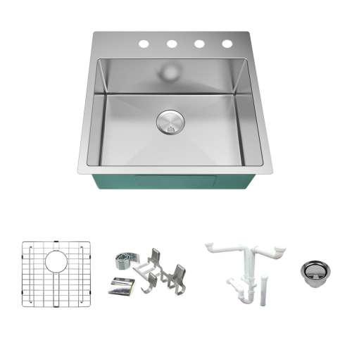 Transolid KKM-DTSB232210-4 Diamond Sink Kit with Single Bowl, 4 Pre-Drilled Holes, Magnetic Accessories Kit, and Drain Kit