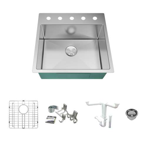 Transolid KKM-DTSB232210-5 Diamond Sink Kit with Single Bowl, 5 Pre-Drilled Holes, Magnetic Accessories Kit, and Drain Kit