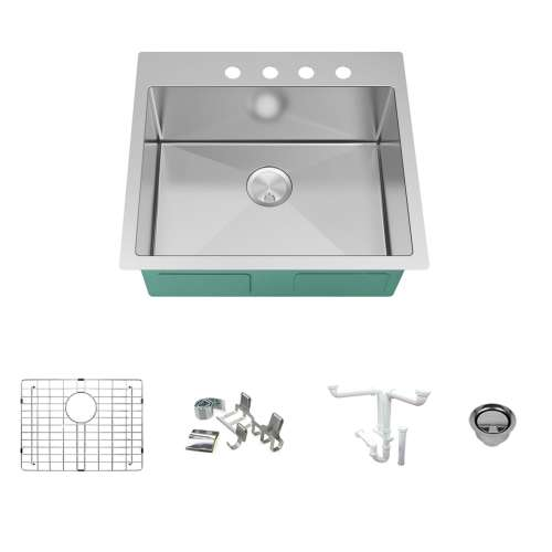 Transolid KKM-DTSB252210-4 Diamond Sink Kit with Single Bowl, 4 Pre-Drilled Holes, Magnetic Accessories Kit, and Drain Kit