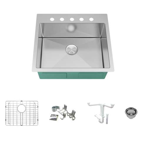Transolid KKM-DTSB252210-5 Diamond Sink Kit with Single Bowl, 5 Pre-Drilled Holes, Magnetic Accessories Kit, and Drain Kit